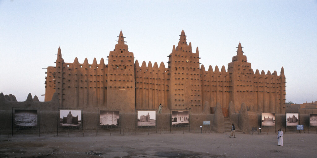 Adobe mosques in Mali open air exhibition at the Great Mosque of Djenné