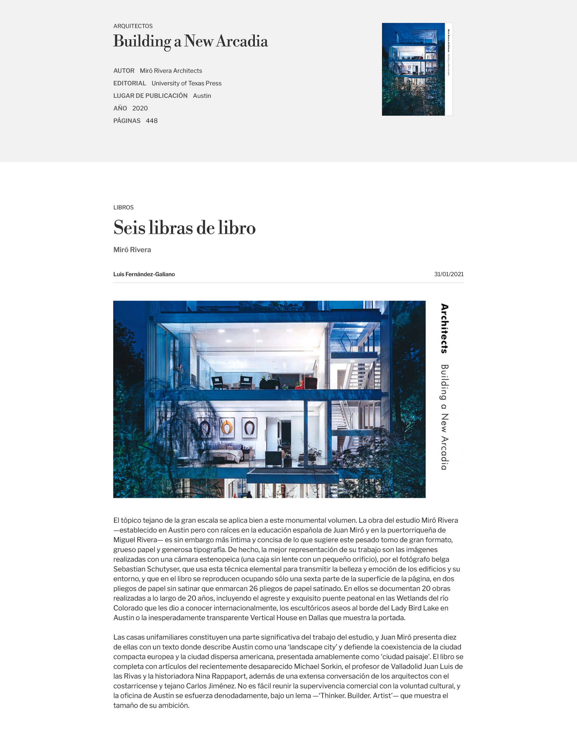 Book review of Miró Rivera Architects - Building a New Arcadia in Arquitectura Viva