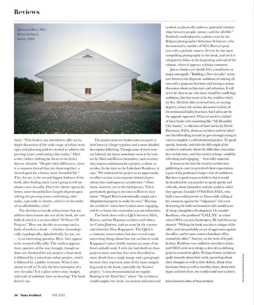 Book review of Miró Rivera Architects - Building a New Arcadia in Texas Architect